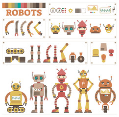 Robot character constructor kit with various illustrated vector body parts