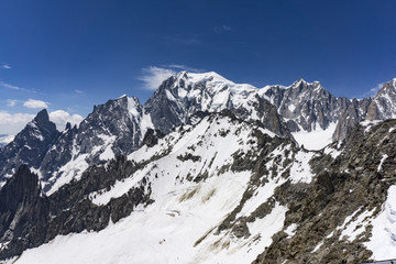 A majestic view of the great snowy peak of Mont Blanc. Alps.