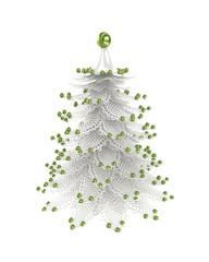 3d illustration of christmas tree over white background
