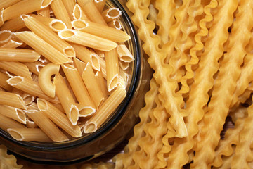 Pasta in glass, storing the dried product.