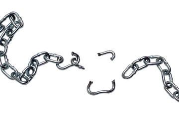 Photo of broken chain isolated on white background