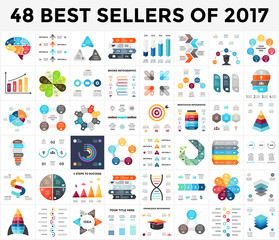 Vector infographics set. 48 best sellers of 2018. Business diagrams, arrows graphs, startup presentations and idea charts.