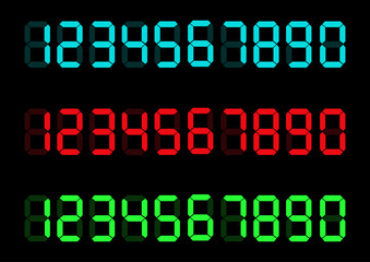 Digital numbers set. Vector illustration. Calculator digital numbers.
