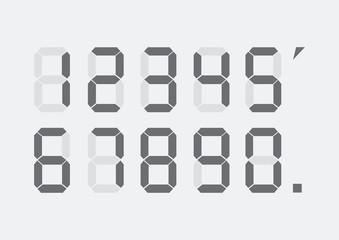Digital numbers set. Vector illustration. Calculator digital numbers.