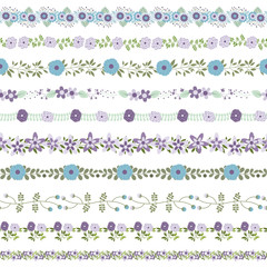 Elegant vector flower borders in violet, blue and green colors - could be connected seamlessly