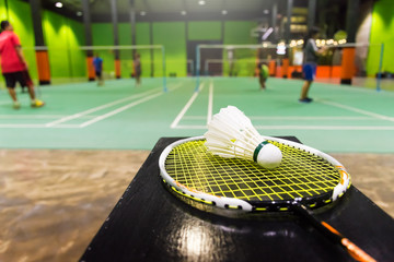 badminton courts with shuttlecocks in the foreground