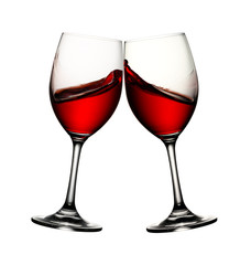 Two wine glasses with wine splash