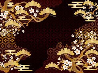 松と花の和柄背景素材