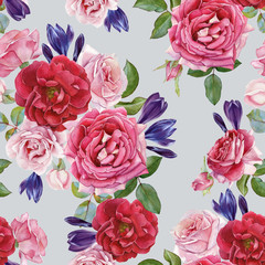 Floral seamless pattern with watercolor roses and crocuses. Background with bouquets of hand drawn watercolor flowers