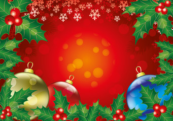 Christmas background with holly leaves and balls.