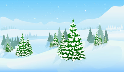 Winter vector background. New Year's landscape. EPS 10