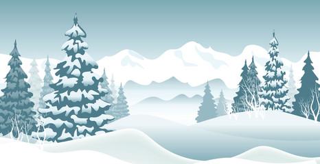 Keuken foto achterwand Lichtblauw Winter vector background in blue tones. New Year's landscape. EPS 10