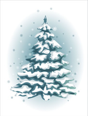 Snowy beautiful Christmas tree on a white background. Greeting card. EPS 10