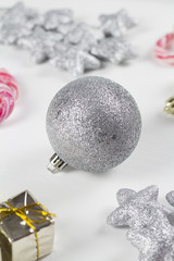 Christmas decoration on white background,vintage,soft focus