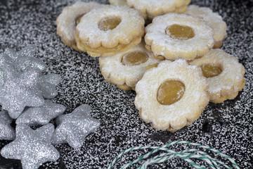 Beautiful Christmas background cookies on dark background