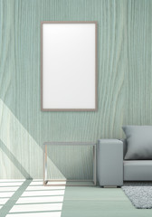Frame Background In Living Area For Background Concept 3d Rendering