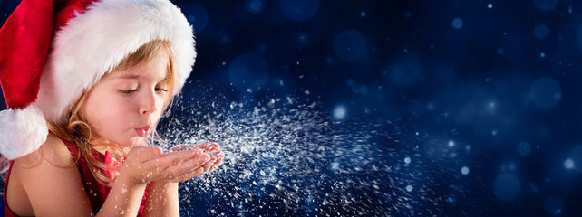 Little Girl Blowing Snow - Christmas Wish Concept