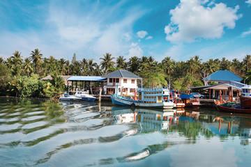 Chumphon, Thailand - 9 February 2014: Fishing boats at the coastal fishing villages. Preparation sea fishing