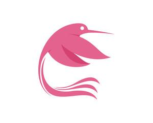 Pink Hummingbird Flying Modern Logo