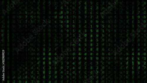 Green Hexadecimal Symbols Flashing Against Black Computer Screen