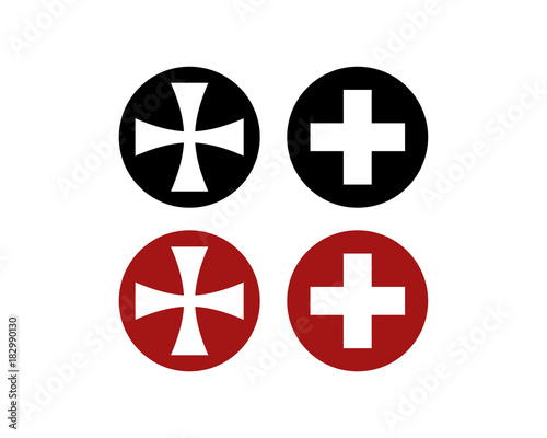 Red And Black Circle Medical Cross Plus Symbol Stock Image And