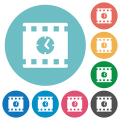 Movie playing time flat round icons