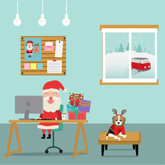 Merry christmas santa claus working in the room with reindeer dog vector. illustration EPS10.