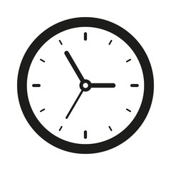 Clock icon in flat style, black timer on white background, business watch. Vector design element for you project