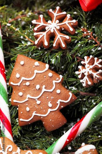 Christmas Homemade Gingerbread Christmas Tree Cookies And Caramel