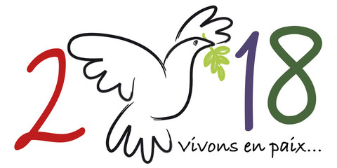 2018 - carte de vœux - colombe de la paix - paix - symbole - amour - vœux - message - fraternité