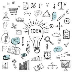Business symbols hand drawn doodle pattern