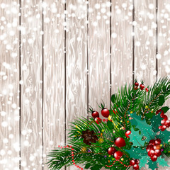 Merry Christmas. Christmas card with snow spruce branches with red berries, Christmas decorations on a wooden background. Happy New Year, vector illustration. EPS10