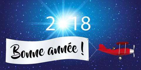 2018 - carte de vœux - message - fond - banderole - avion - année - bonne année - publicitaire