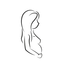 Pregnant woman. Abundant woman future mother concept. Woman carrying a child illustration isolated on white background. illustration