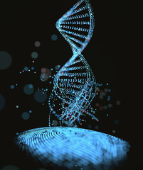 Fingerprint Genetic Code DNA. Genetic code DNA coming out of the fingerprint.