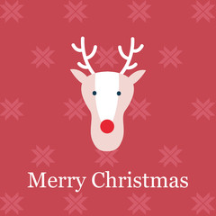 Simple Merry Christmas Flat Postcard with a reindeer