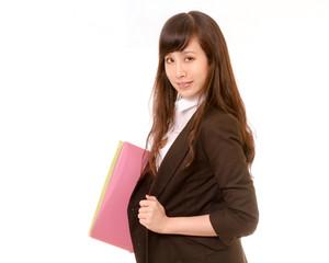 Asian businesswoman executive carrying folder, filter look