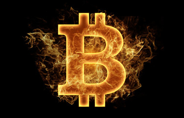 bitcoin money currency symbol logo fire flames design