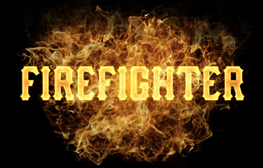 firefighter word text logo fire flames design