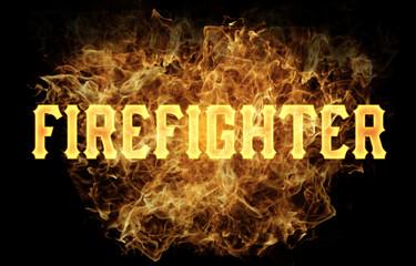 firefighter word text logo fire flames design