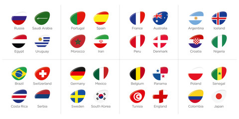 Groups of participating countries to the soccer tournament in russia