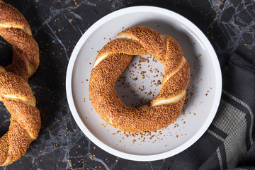 Turkish bagel in plate