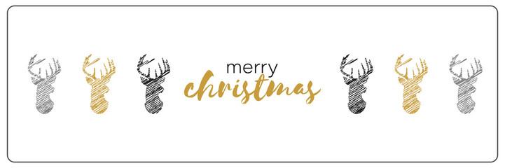 verschiedene handgezeichnete Rentiere - Merry Christmas - Banner
