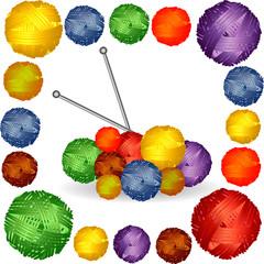 Nine balls of multicolored yarn, thread, stuck knitting needles