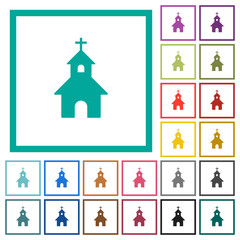 Curch flat color icons with quadrant frames