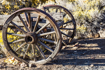 Two Vintage Wooden Wheels