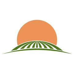 Farm Land illustration of rolling green fields.