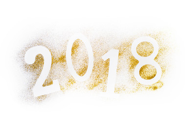 Luxury glowing numbers 2018 made from gold shiny glitter. New year concept. Text space