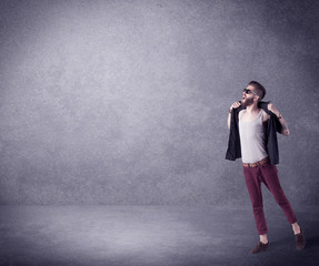 Fashion model shouting in empty space