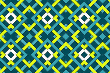 Geometric seamless pattern with celtic ornament of blue, teal, yellow, and white shades